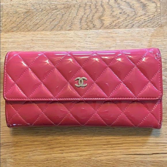 CHANEL Handbags - Chanel classic quilted patent flap wallet clutch
